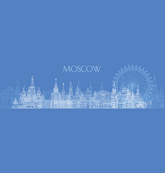 moscow skyline line art 5 vector image
