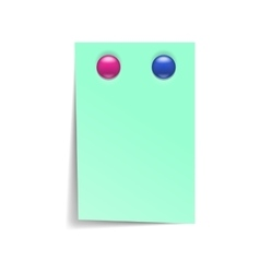 Note paper with magnets icon realistic style vector image