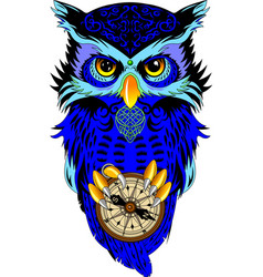 Owl with a compass vector