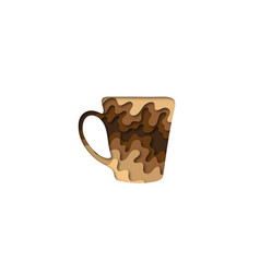 paper cut shape cup of coffee 3d origami vector image