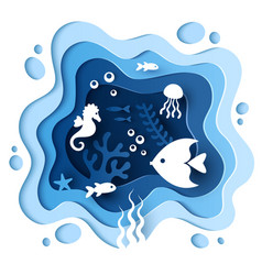 paper cut style underwater sea cave coral reef vector image