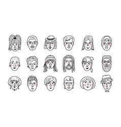 People faces funny doodle avatars hand vector