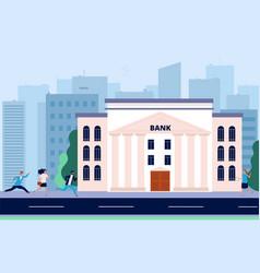 people run to bank financial crisis crowd need vector image