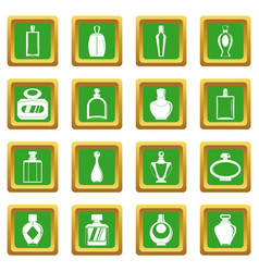 Perfume bottles icons set green vector