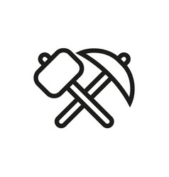 Pick-axe and hammer icon on white background vector