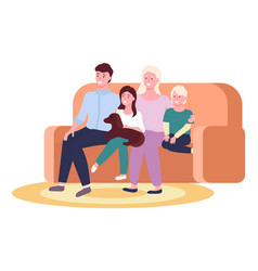 Portrait four member family posing together vector