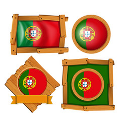 Portugal flag on round and square badges vector
