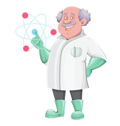 Professor cartoon character showing on atom sign vector
