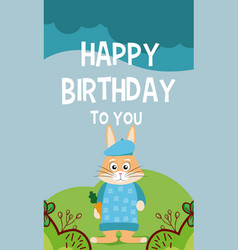 rabbit cute animal birthday card vector image