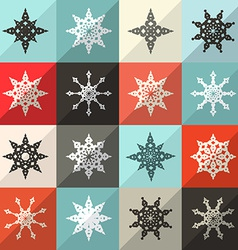Retro Snowflakes Set vector image