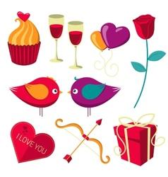Saint valentine day objects set vector