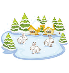 Scene with three rabbits in snow field vector