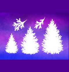 Set christmas trees and branches vector