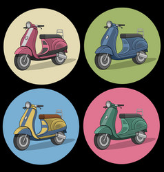 set of colorful retro scooter icons vector image