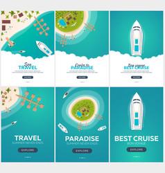 Set of summer travel banner sea travel summer vector