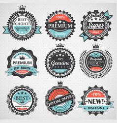 set premium quality guaranteed genuine badges vector image