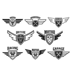 set vintage winged emblems racing motorcycles vector image