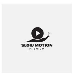 Snail and play button logo design vector
