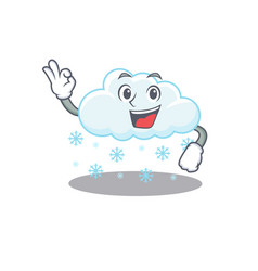 Snowy cloud mascot design style with an okay vector