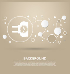 Socket icon on a brown background with elegant vector