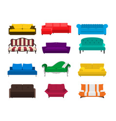 Sofa set icon colored collection isolated vector