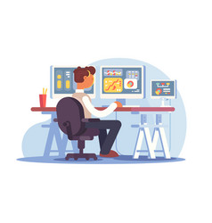 stock trader sitting at workplace vector image