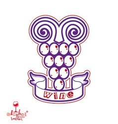 Stylized grape vine Winery symbol best for vector