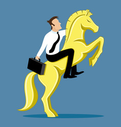 Successful businessman on a gold horse vector