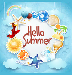 summer background with colorful icons and message vector image