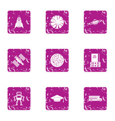 system technology icons set grunge style vector image