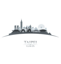 Taipei taiwan city skyline silhouette white vector