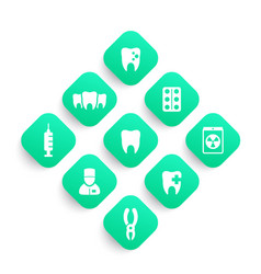 teeth dental care dentist stomatology icons set vector image