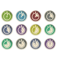 Timer icons collection isolated on white vector image