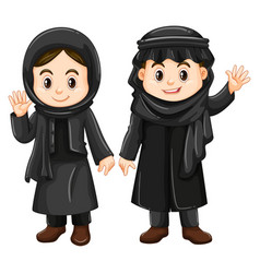 Two kuwait kids in black costume vector