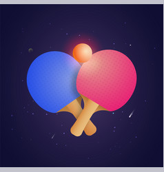 two racket for table tennis with ball in vector image