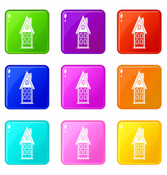 Two storey house with attic icons 9 set vector