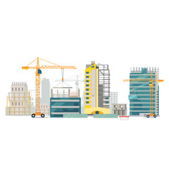 Unfinished buildings cranes city construction vector