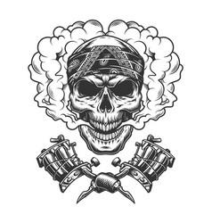 Vintage tattoo master skull in cloud vector