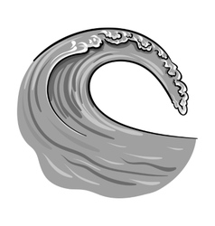 Wave icon in monochrome style isolated on white vector image