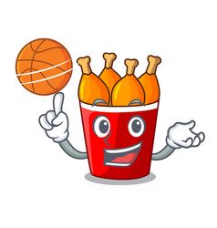 with basketball character bucket chicken fried vector image