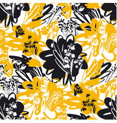 Yellow and black summer floral seamless pattern vector