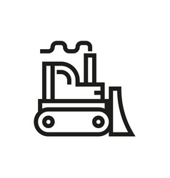 bulldozer icon on white background vector image vector image