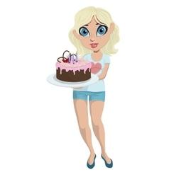Cartoon cute girl with birthday cake vector image vector image