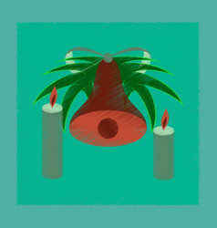 Flat shading style icon christmas bell vector