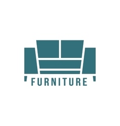 furniture logotype with green sofa icon vector image vector image