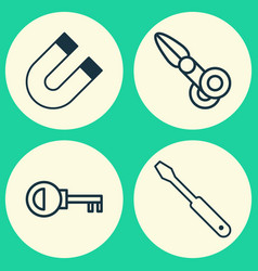 instrument icons set collection of turn screw vector image