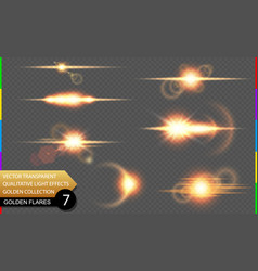 isolated golden lens flare line glow transparent vector image vector image