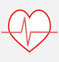 Pulse heartbeat icon line vector image