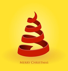 red christmas tree on gold background vector image vector image