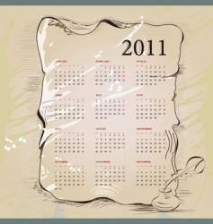 template for vintage calendar 2011 vector image vector image